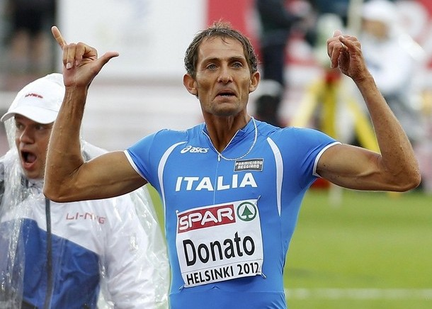 Donato of Italy reacts to his jump during the men's triple jump final at the European Athletics Championships in Helsinki